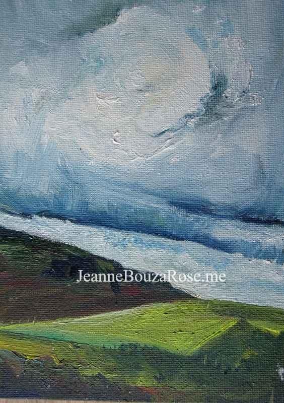 Jeanne Bouza Rose plein air oil: