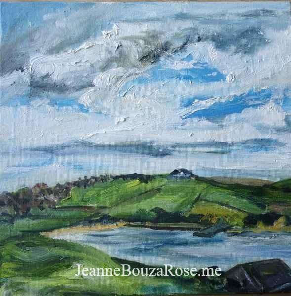 Jeanne Bouza Rose plein air oil: Scapa Beach
