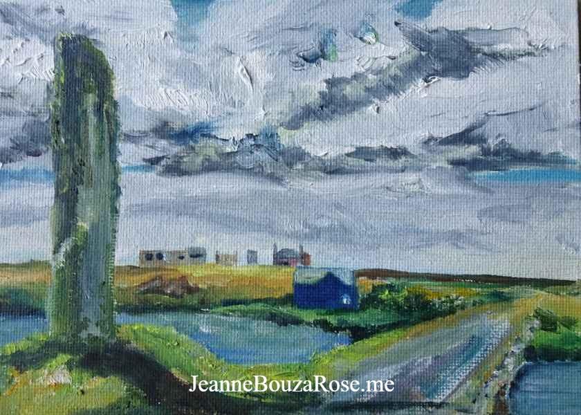 Jeanne Bouza Rose plein air oil: Watchstone