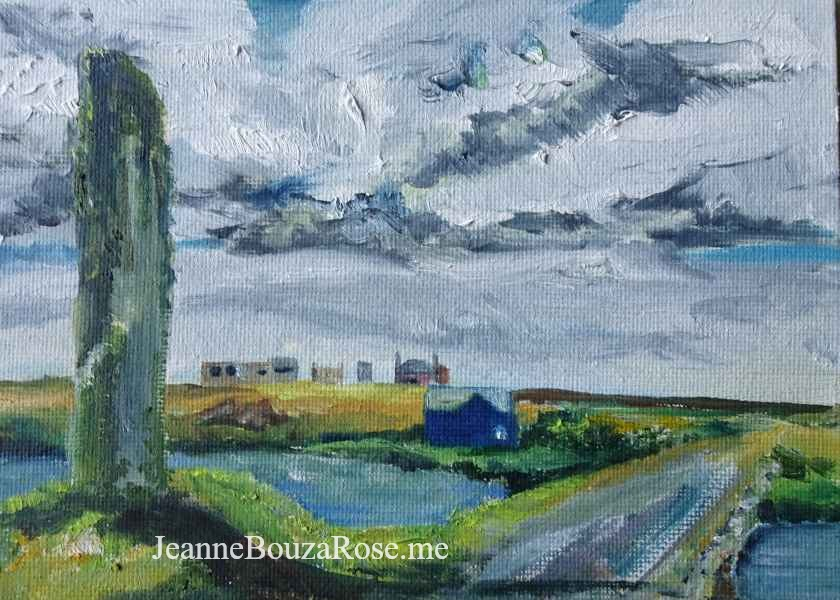 Jeanne Bouza Rose plein air oil: Watchstone, Stromness, Orkney