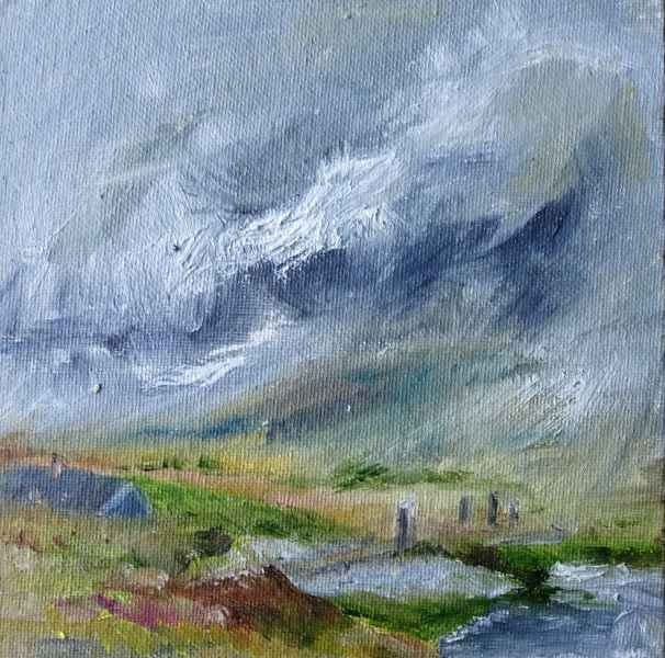 Jeanne Bouza Rose plein air oil: From Trench T, Stenness