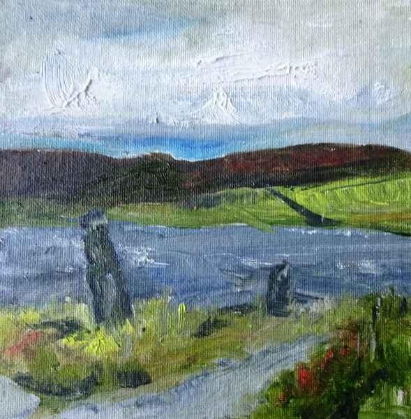 Jeanne Bouza Rose plein air oil:Garden Stones, Lochview