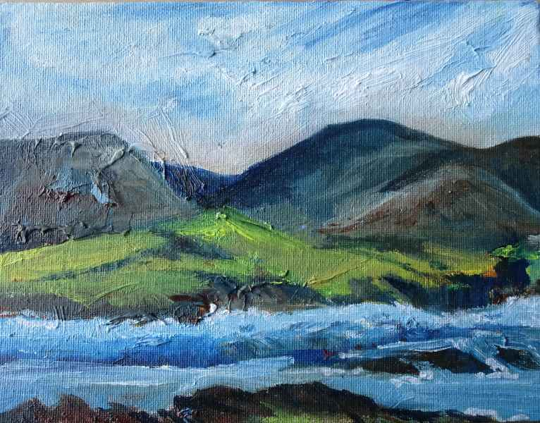 Jeanne Bouza Rose plein air oil: Across the Flow to Hoy