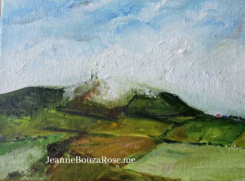 Jeanne Bouza Rose Wideford Hill in Clouds 15x20