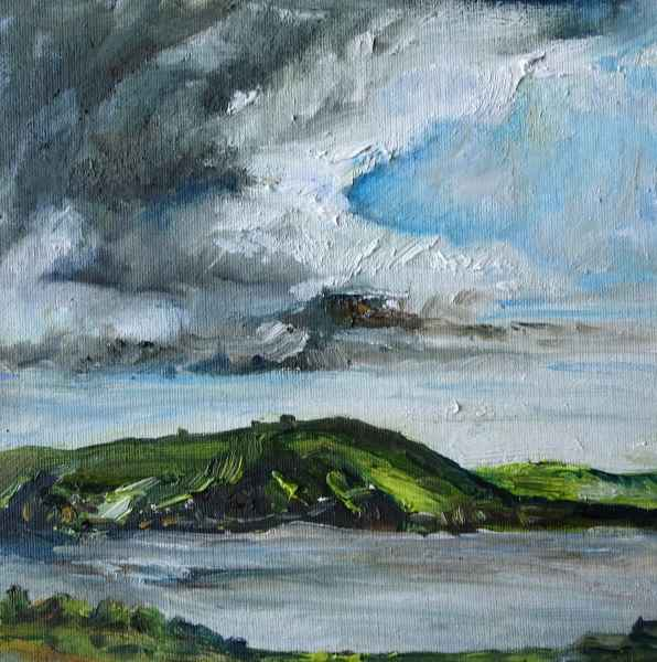 Jeanne Bouza Rose Plein Air Oil Across from Marness, There is a Bit of Scapa, Orkney