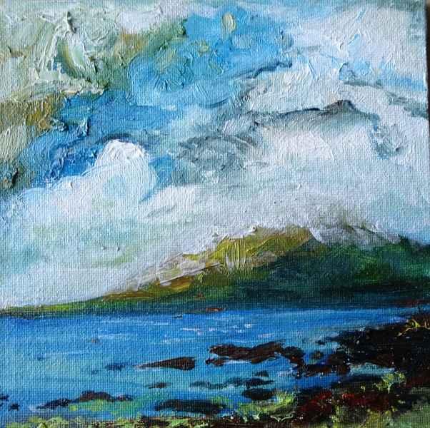 Jeanne Bouza Rose plein air oil: Garisay